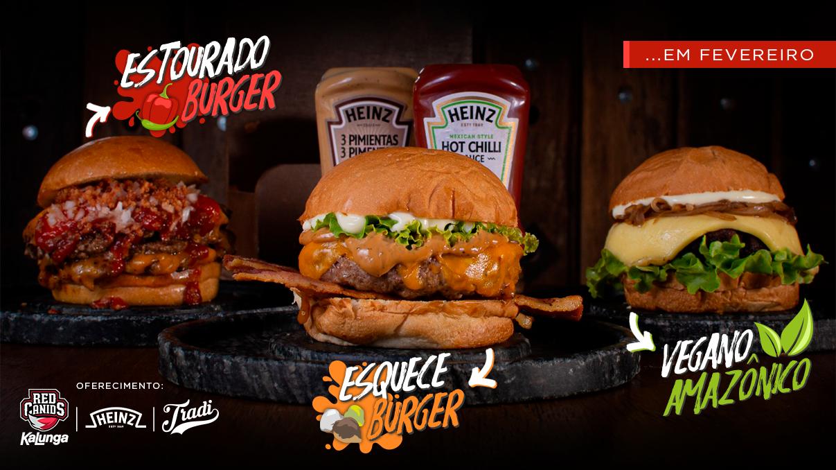 RED Canids Kalunga cria três sanduíches artesanais em parceria com a Heinz e a Hamburgueria Tradi